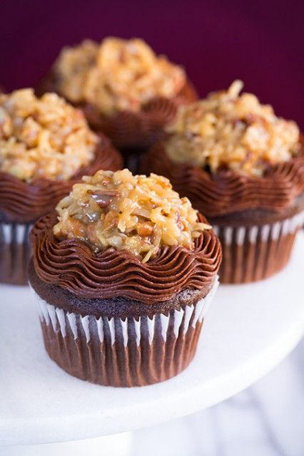 German Chocolate Cupcakes –  I think its safe to say its a german chocolate cake lovers dream. And this chocolate frosting, I think I have a new favorite  or at least a tie (this