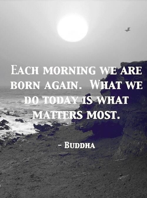 Each Morning We Are Born Again. What We Do Today Is What Matters Most.: