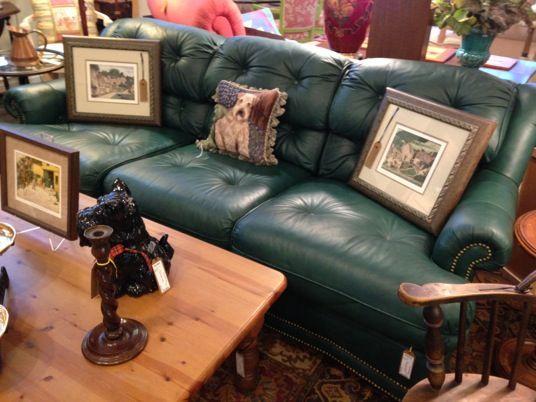 Drexel Hunter Green Leather Sofa Wwwshopthecourtyardcom