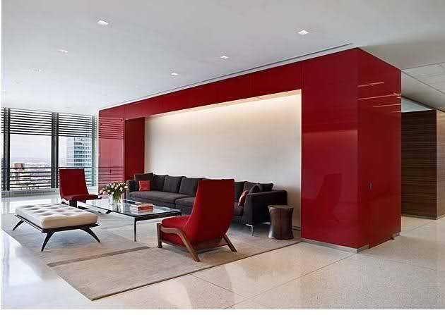 modern office feature with red accent wall colourful on office accent wall color id=90696