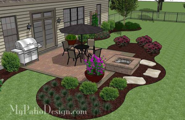 landscaping around a square patio - Google Search ... on Square Backyard Design Ideas id=36581