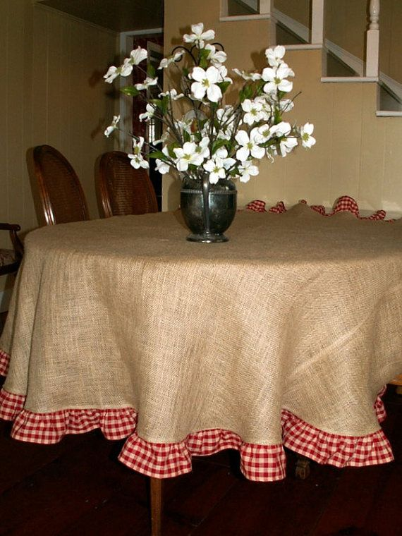 Burlap And Red Gingham Tableclothlove Surprise