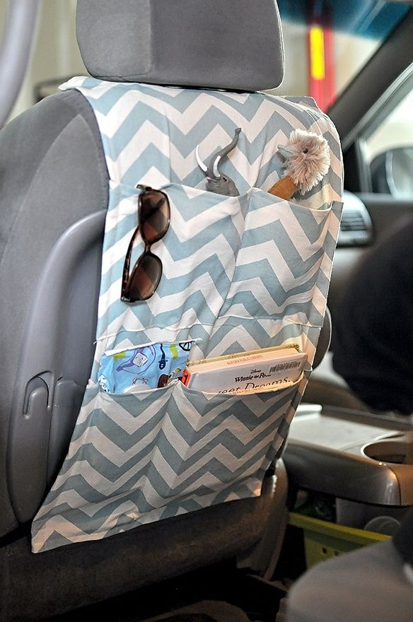 sewn car organizer,,,need to make one! my mom made something sort of like this… works great!!
