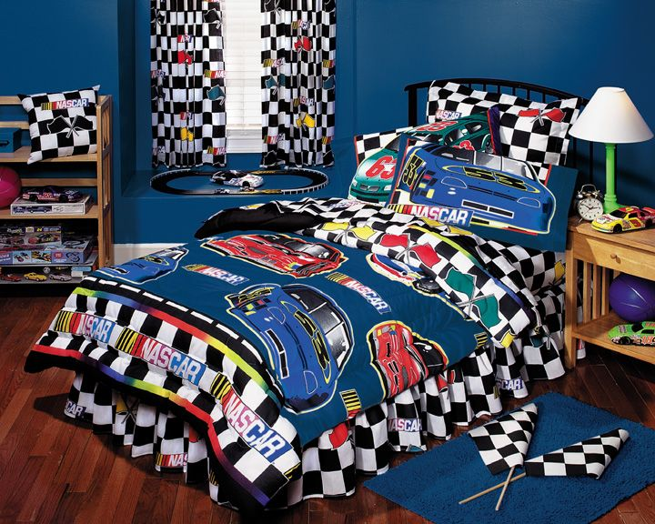 NASCAR Boys Bedding NASCAR Checkered Flag BED IN A BAG Twin Bedding Set Decor Ideas