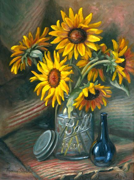 Sunflowers In Mason Jar Theresa Shelton Ode To Sunflowers Pinterest Jars Masons And Love This