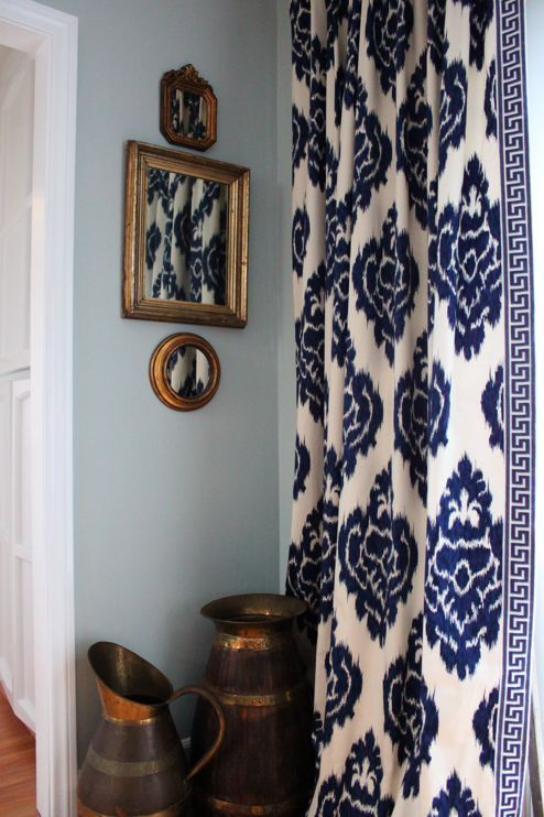 Ikat Curtains Navy Amp White Living Room Love The Greek Key Trim I Would Love This If It Was