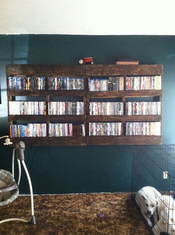 Rustic DVD Rack Stained Pallet My DIY Projects Pinterest Awesome Pallets And Dvd Rack