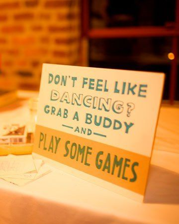 wedding games. Because everyone isnt a dancer! Yesssss this so goes with my personally! Great idea to allow more people to get