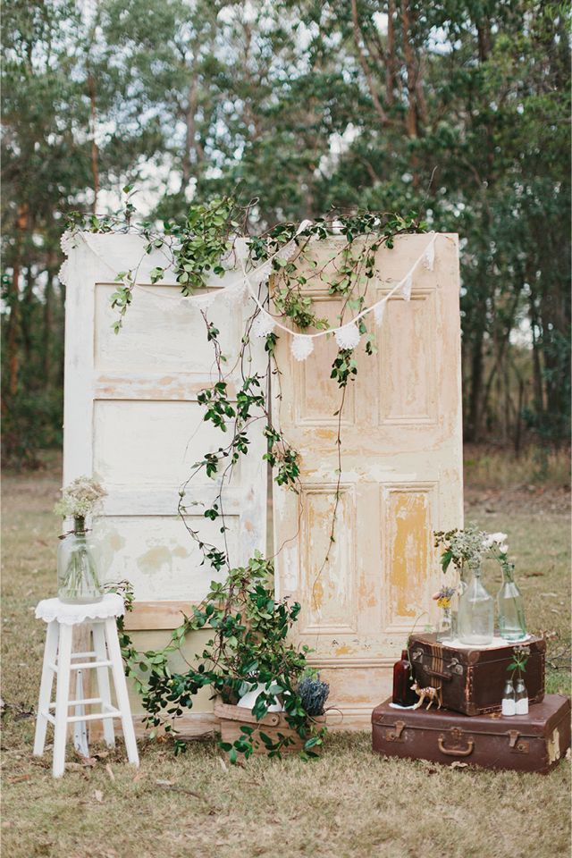 French Country Wedding Decorations | wedding ceremony doors / Anthony Hoang Photography….photo booth?