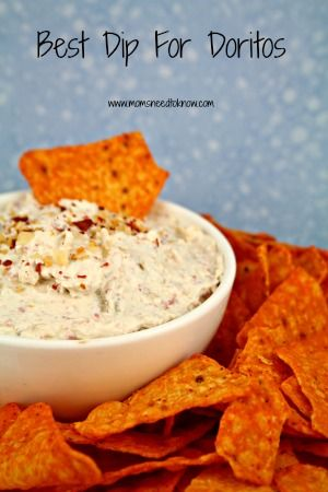 Once you try this dip for Doritos, you will never eat plain Doritos again! 8 oz cream cheese, softened, 8 oz sour cream, 1 small can (4 oz) chopped green chiles, 1/3 cup Bacon Bits, 1/4 tsp garlic