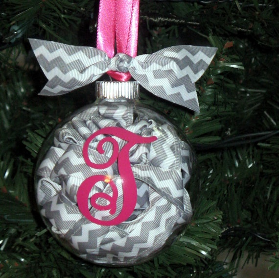 Chevron Christmas Ornaments by daintydesignsshop on Etsy, $11.99  Clear ornament with ribbon coiled inside, and initial on the