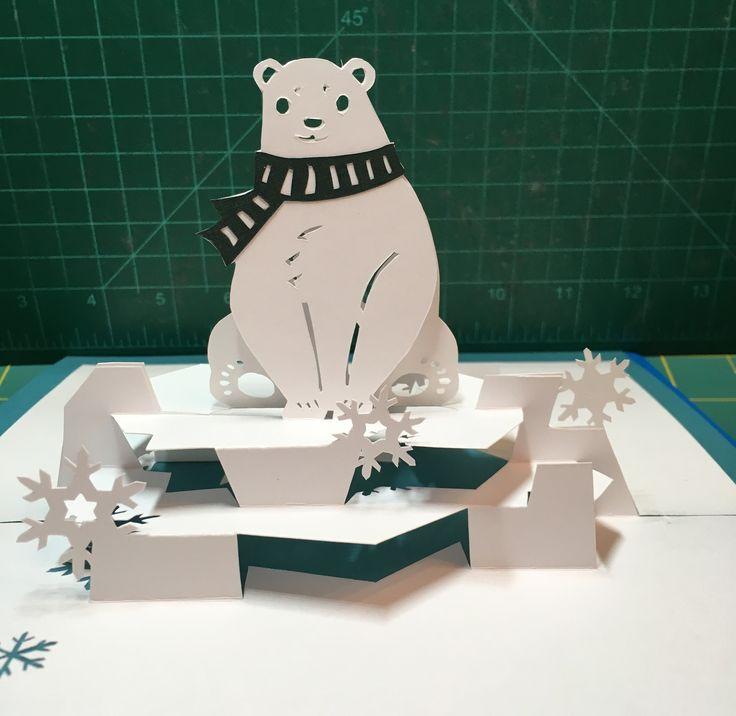 Polar Bear Pop Up Card Template From Cahier De Kirigami