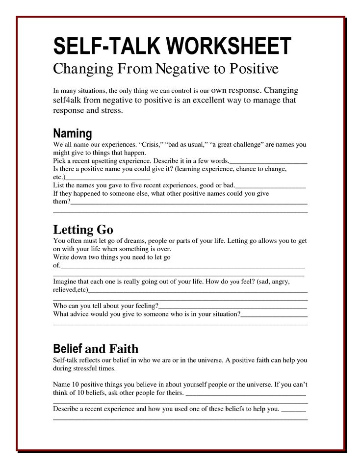 The Worry Bag Self Talk Worksheet