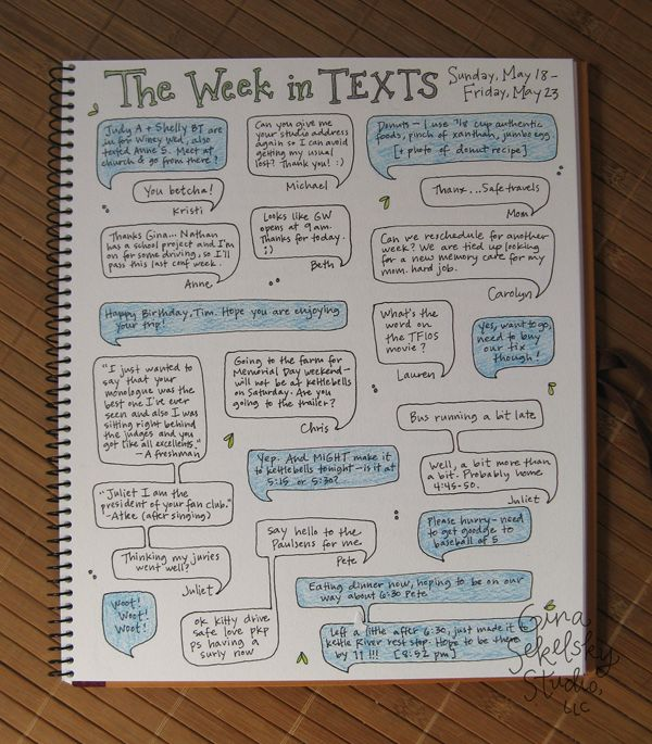 Daily Journal Project #22 — the week in texts! … What a fun journaling idea!