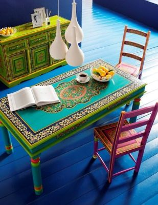 Upcycle old furniture for garden tables with Morrocan art and bright colours.: