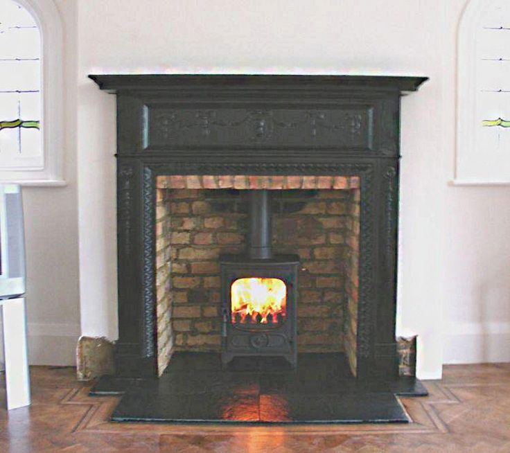 Antique Edwardian Cast Iron Mantel With Slate Tiled Hearth