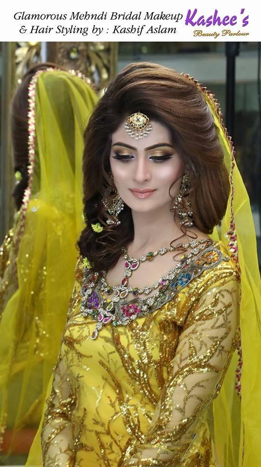 Glamorous Mehndi Mayoon Bridal Makeup By Kashif Aslam By