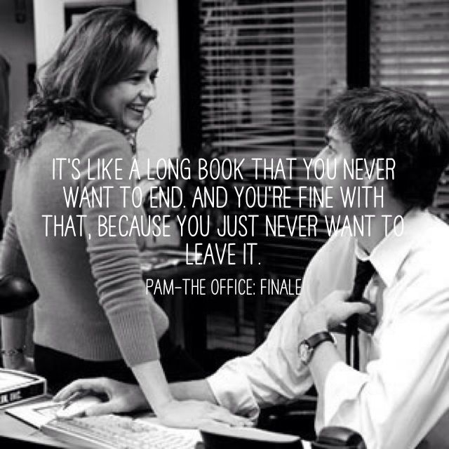 Pam's description of her relationship with Jim. Jim and Pam – The Office Finale. Adorable.