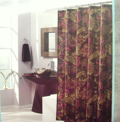 WEST ST DESIGN LORELEI Fabric Shower Curtain 70x72 Dark Burgundy Gold Curtains