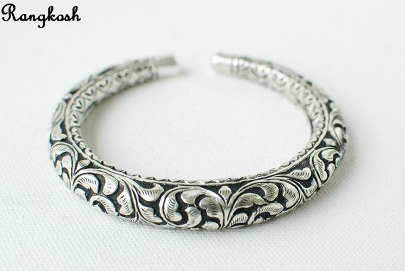 Sterling Silver Ethnic Dragon Cuff Kada Bracelet Bangle