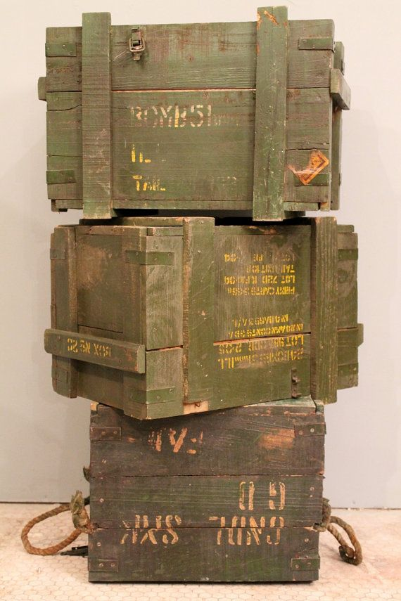 Vintage Green Distressed Army Crate Storage Trunk Side