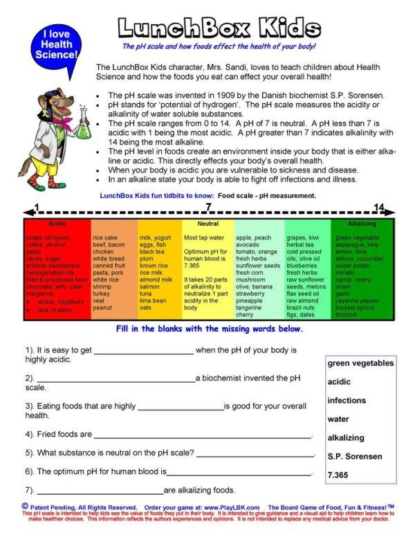 LunchBox Kids, pH Scale resource worksheet! | Free Teacher ...