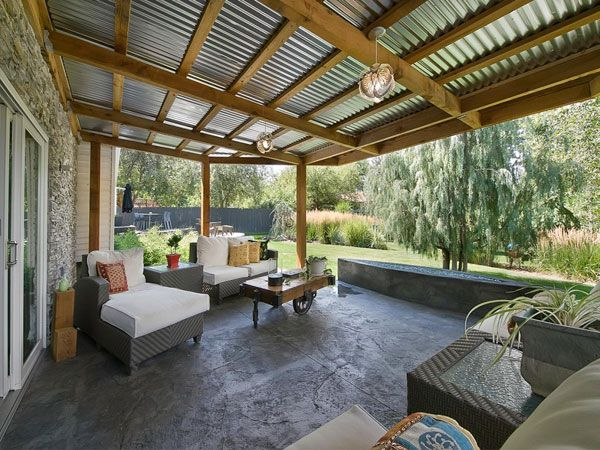 corrugated metal patio overhang | landscaping ideas ... on Backyard Overhang Ideas  id=90726