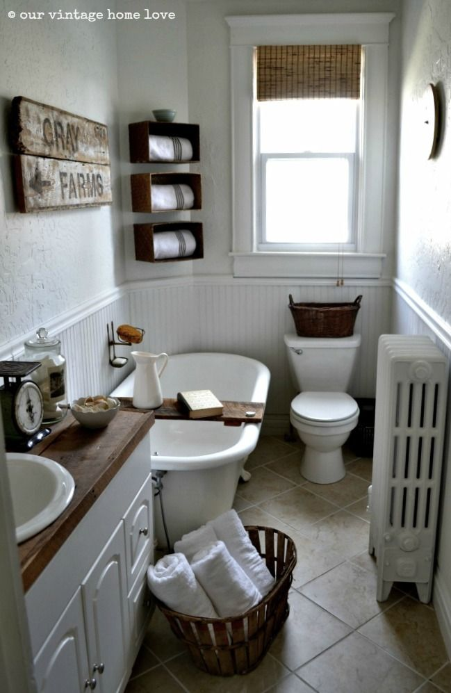 17 Best images about Farmhouse Bathrooms on Pinterest ... on Rustic Farmhouse Bathroom Tile  id=53327