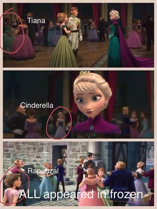Tiana Cinderella And Rapunzal All Had Cameos In Frozen When You Wish Upon A Star