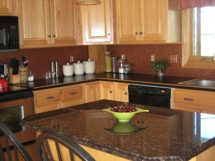 Brown Color Cheap Backsplash Ideas With Soft Walnut Brown ... on Kitchen Backsplash Ideas With Black Granite Countertops  id=47546