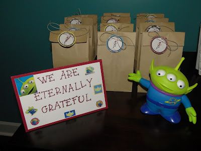 Toy Story Birthday Party Favor Bags  Pizza planet bagel bites Slinky dog hot dog bites Sheriff cut sandwiches ? Activity corner