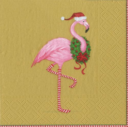 Caspari Christmas Flamingo Gold Holiday Bird Printed 3 Ply