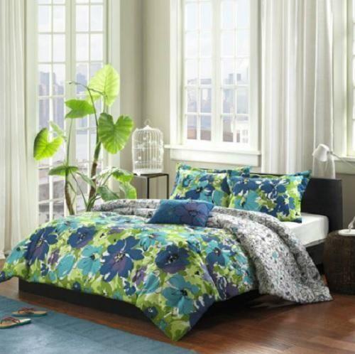 TWINTWIN XL Girls Teen Blue Green Purple TROPICAL FLORAL Comforter Bedding SET College Flow
