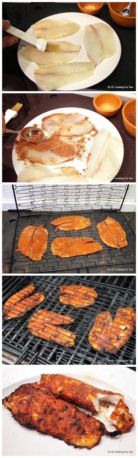 Grilled Blackened Tilapia – nice and easy blackened recipe.  The brown sugar adds a hint of sweetness.  I tried on salmon too and