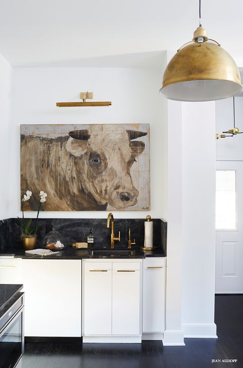 eclectic kitchen boasts white flat front cabinets adorned with gold hardware paired with on kitchen cabinets gold hardware id=58156