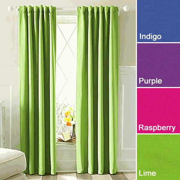 Twill 95 Lime Long Eclipse Thermaweave Blackout Curtain Insulated Panel 27 Green Curtains