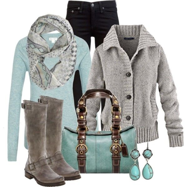 Color combos:  light turquoise long-sleeved dress and purse, gray boots/sweater, gray/turquoise patterned scarf, and black skirt