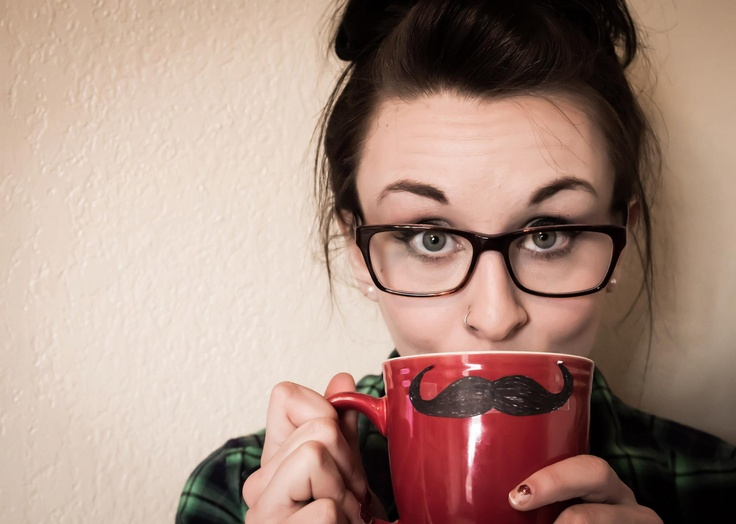 Mustache Hipster Coffee Glasses High Bun Messy Hair