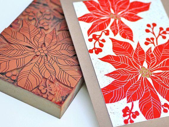Handmade Christmas Card Poinsettia Linocut By