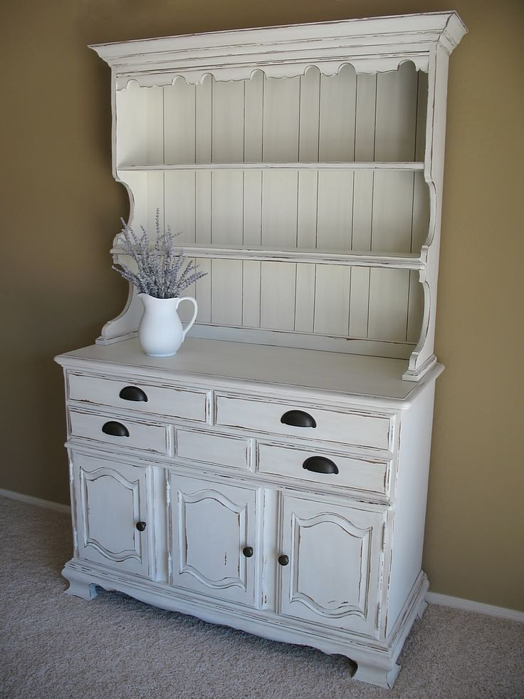 Farmhouse Distressed White Hutch House Pinterest