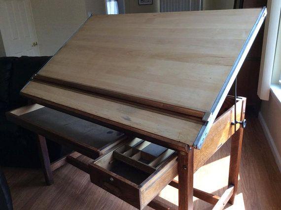 Vintage Hamilton Economy Drafting Table Tool Drawers