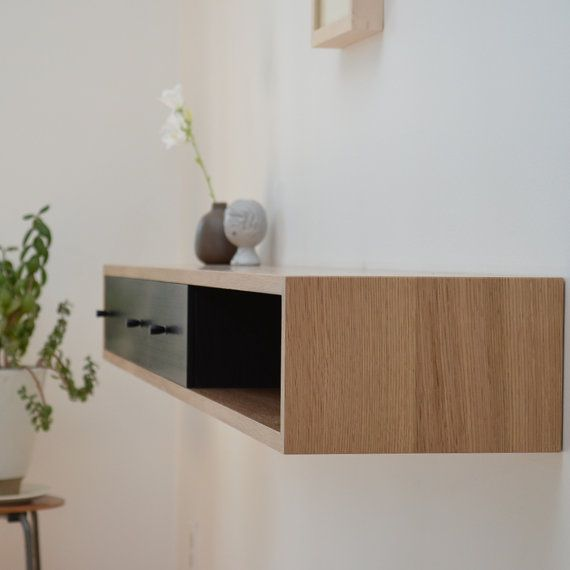Floating Console Table White Oak Shelf Oak Shelves
