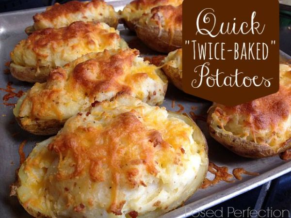"""These Quick """"Twice-Baked"""" Potatoes start off in the ..."""