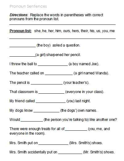 Kinds Of Pronouns Worksheets With Answers