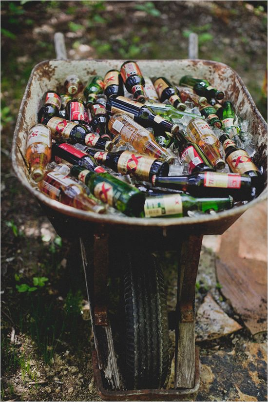 backyard wedding reception ideas | How awesome is this, maypole, drink station? Tons of colorful