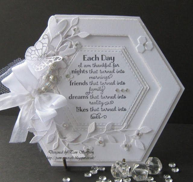 Handmade Card White On White Hexagon Shape With
