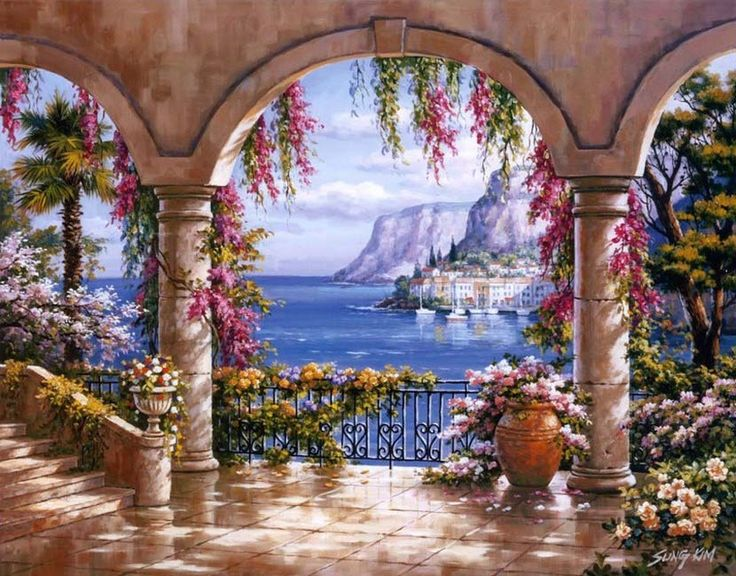 floral patio i by sung kim mediterranean coast italy on wall murals id=11741