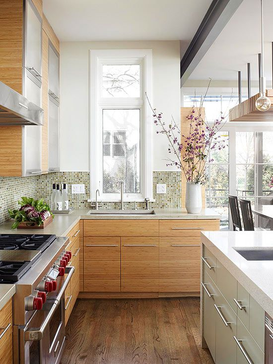 A Tall Narrow Window Above The Kitchen Sink Offers Views Of The Garden Outside And Draws