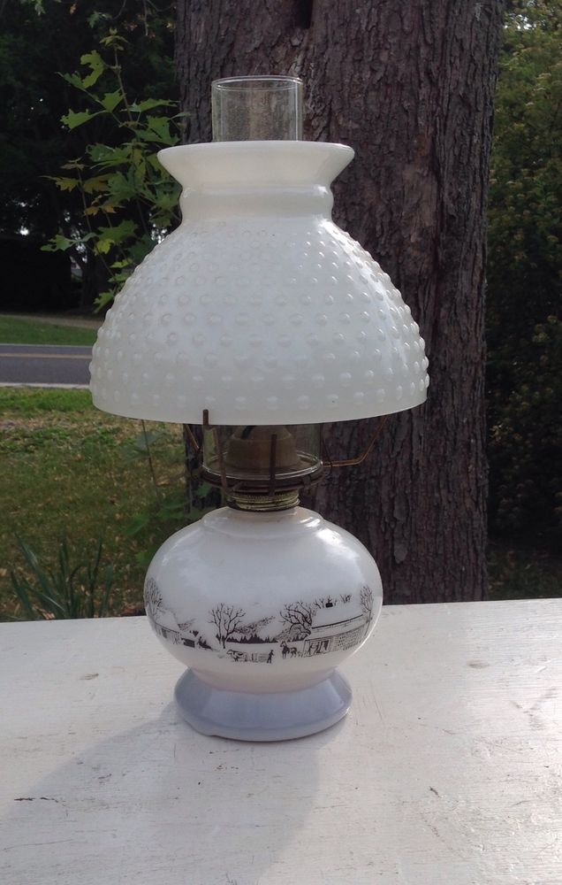 Vintage Currier Amp Ives Oil Kerosene Lamp Milk Glass