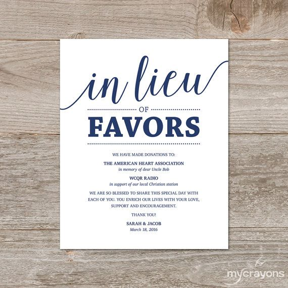 In Lieu Of Favors Sign Wedding Donation Sign Navy